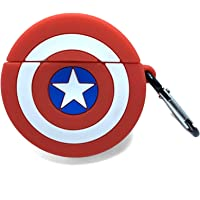 Captain America Airpods Case, Mens Boys Girls Kids Fashion Soft Silicone Protective Shockproof Case Cover Skin with Carabiner Keychain for Apple Airpods Charging Case 2 & 1
