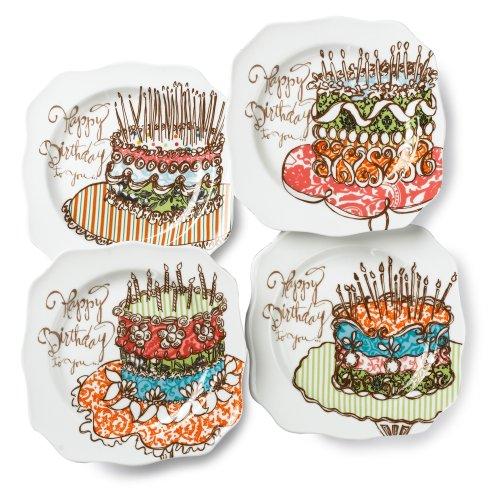 Rosanna Happy Birthday Dessert Plates Set of 4