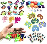 Dinosaur Party Favors For Kids,Dinosaur Keychains,Rings,Necklace,Masks, Stamps and Sticker Tattoos-Dinosaur Birthday Party Supplies-Prizes Gift,Pinatas, Carnivals, and Goodie Bags