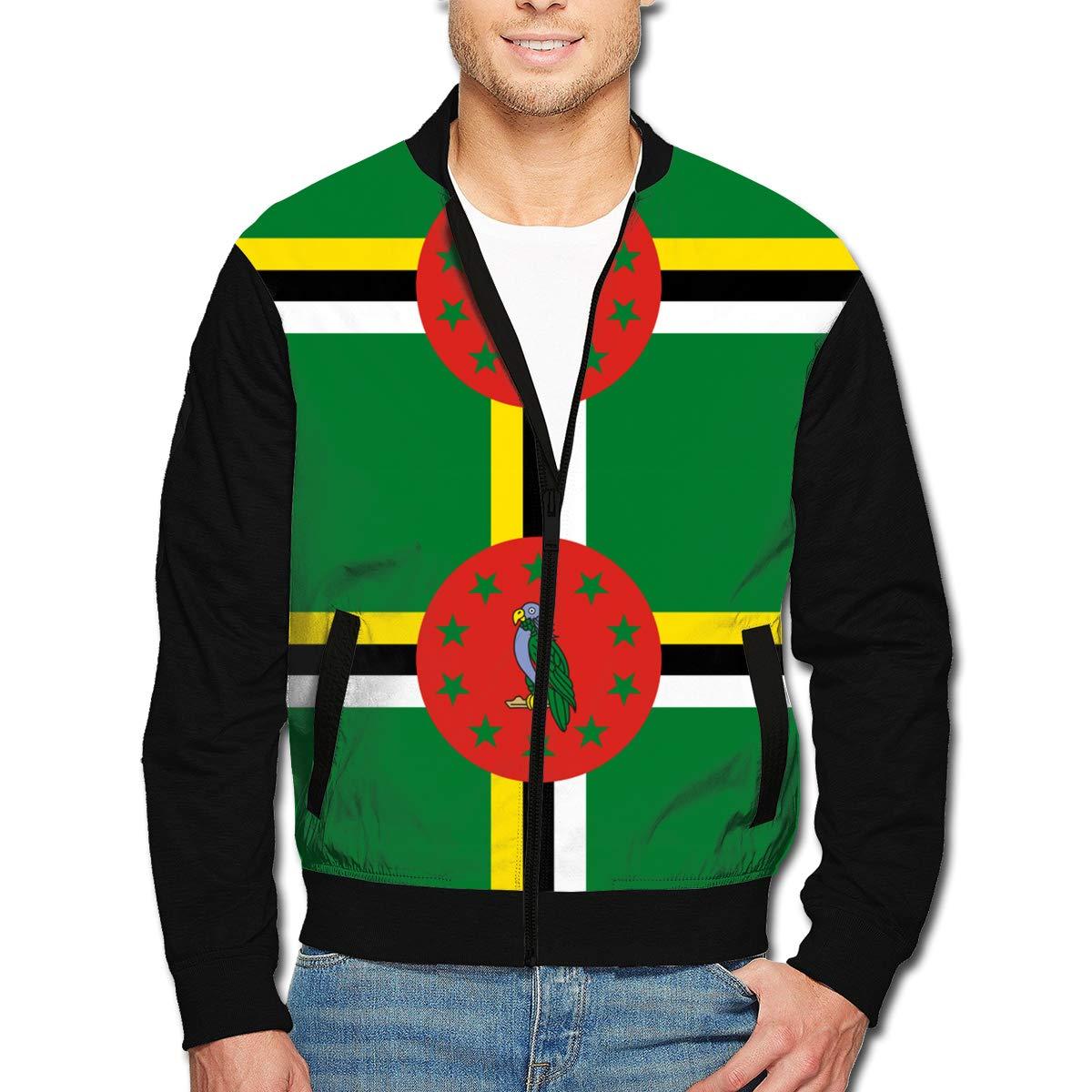 Dominica Flag Mens Bomber Jacket Casual Track Jacket Baseball Coat Stand-up Collar Jacket