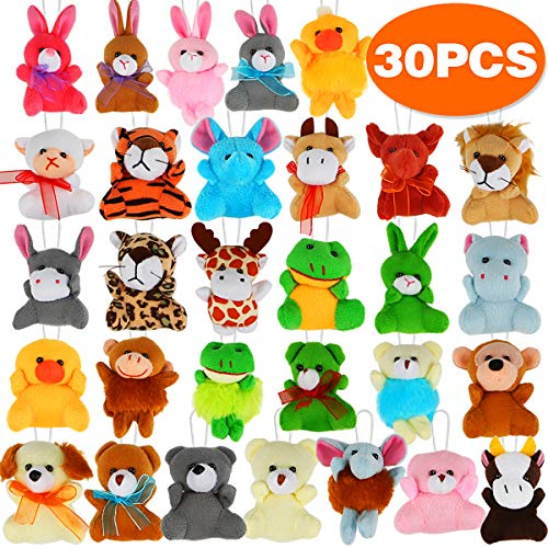 30 Pack Mini Plush Animals Toys Set, Aitbay Cute Small Stuffed Animal Keychain Set for Party Favors, Goodie Bag Fillers, Carnival Prizes for Kids, Prize Box Toy Assortment for Classroom Rewards