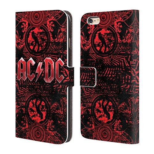 Officiel AC/DC ACDC Orné Rouge Logo Étui Coque De Livre En Cuir Pour Apple iPhone 6 Plus / 6s Plus