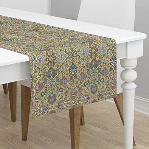 Table Runner - Turkish Persian Rug Damask Antique Jade Floral by Peacoquettedesigns - Cotton Sateen Table Runner 16 x 108