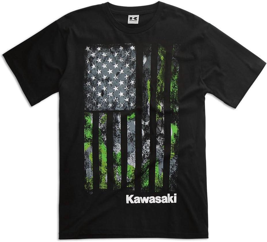 KAWASAKI CAMO FLAG T-SHIRT BLACK MENS MEDIUM