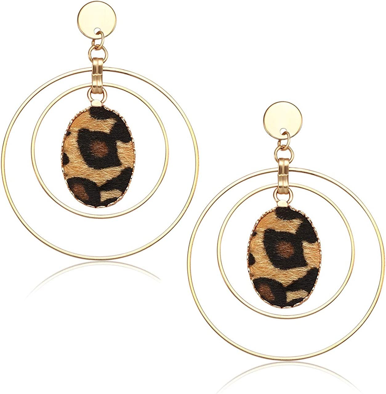 Leather and Circle Drop Earrings