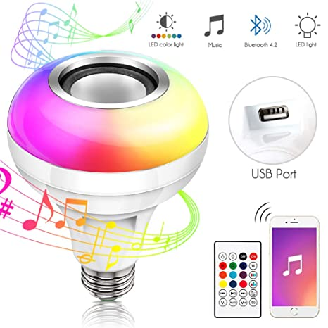 Amazon.com: Bluetooth Light Bulb Speaker with USB Port, RGB ...