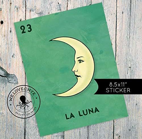 Loteria La Luna Mexican Retro Illustration Art Sticker