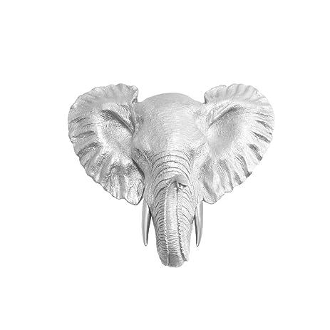 Wall Charmers Elephant Mini In Silver Faux Head Bust