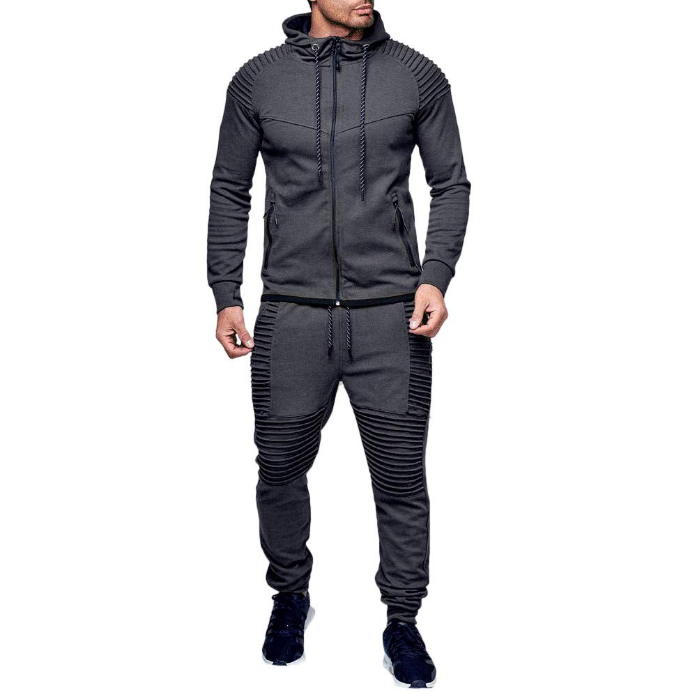 iLXHD Athletic Tracksuits Long Sleeve Solid Jumper Sweater Pans Sweat Suit(Dark Gray,M)