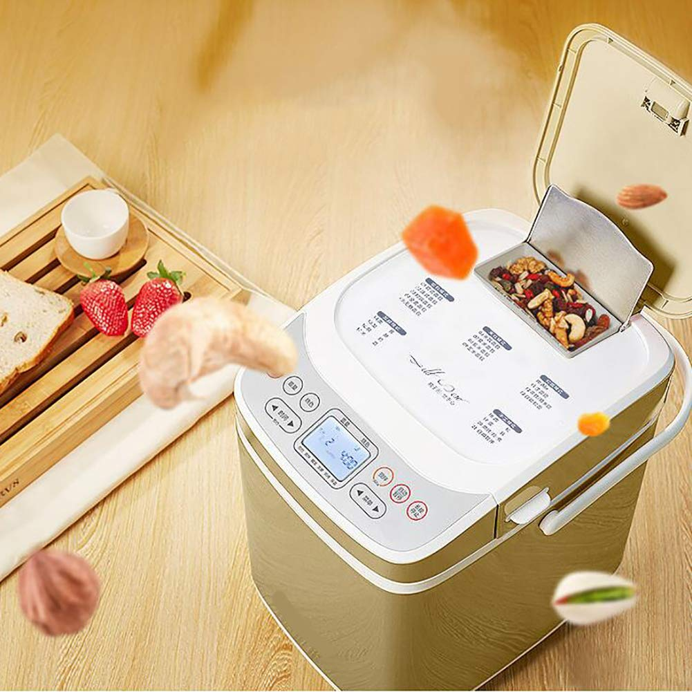 LJ-MBJ Maquina para Hacer Pan, Completamente automático Maquina de Pan, Multifunción Inteligente Máquina para Hornear Pan, Desayuno Romper Maker, ...