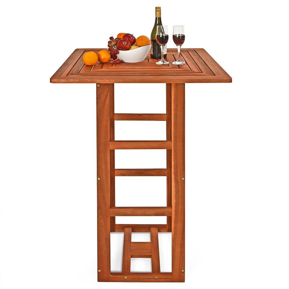 Table de bar carrée jardin terrasse en bois d\'acacia Table ...
