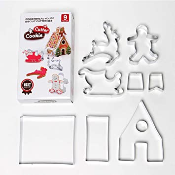 Biniwa – 9 moldes para fondant de Navidad, molde para decorar moldes de horno,