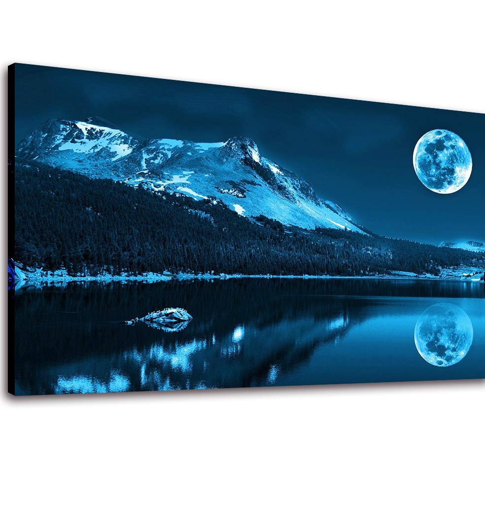 Canvas Wall Art Full Moon Blue Mountain Lake Painting Prints -Long Canvas Artwork Landscape Nature Picture Framed for Living Room Home Decor 20\