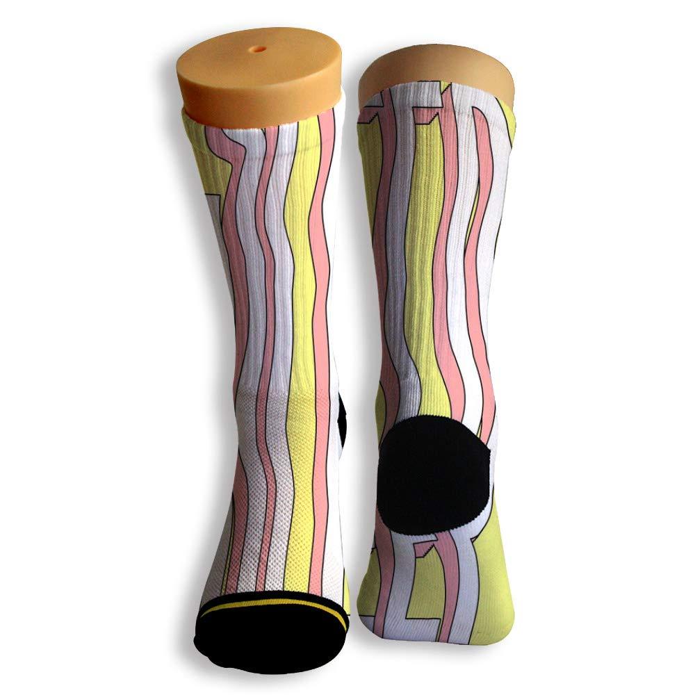 Basketball Soccer Baseball Socks by Potooy Special Letters Graffiti 3D Print Cushion Athletic Crew Socks for Men Women