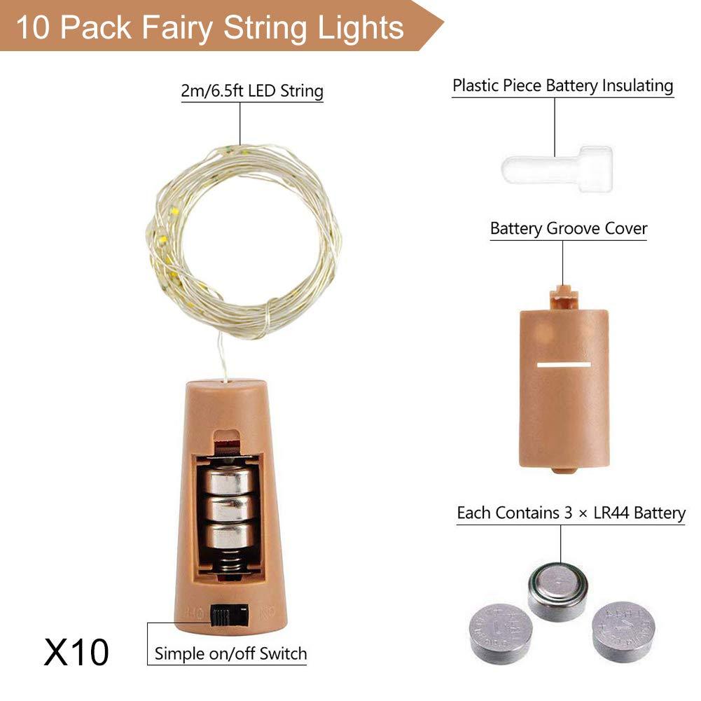 AUOTO LED Lichterkette 2M & 20 LEDs Kupfer Drahtlichterkette wasserdichte Lichter Flaschen-Licht Stimmungslichter Weihnachtsbeleuchtung für Innen und Aussen Halloween Dekoration, 20 Stücke Warmweiß