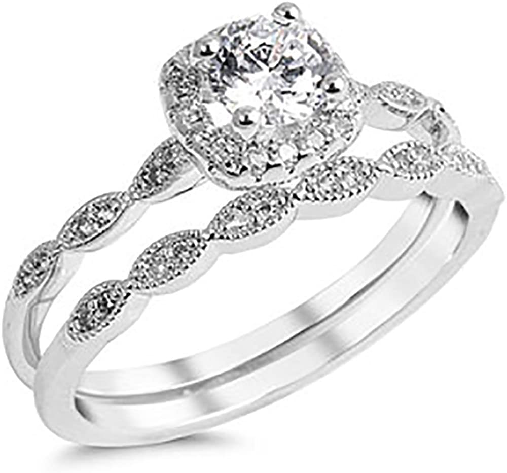 Amazon Com Dk Quality Jewels Sterling Silver 925 Cubic Zirconia Cz Halo Vintage Style Engagement Ring Wedding Set Sizes 4 10 Jewelry