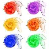 LVEDU 6 PCS Juggling Scarves Sensory Toy 6 Colors 60 x 60 cm Belly Dance Scarves Baby Toddler Kids Scarves