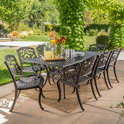 Christopher Knight Home 300676 Ariel 9 Piece Outdoor Cast Aluminum Dining Set Rectangle Perfect for Pat