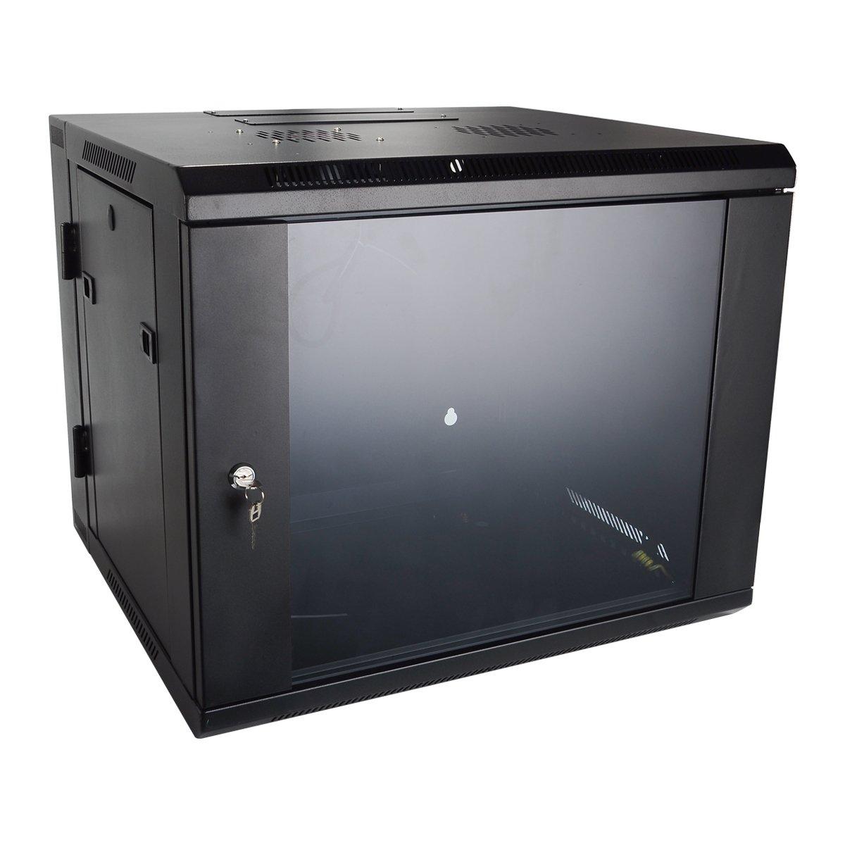 Wall Mount Server Cabinet 9U by Quicktec 19 Inch IT Server Network Rack Cabinet, Glass Door Lock w/ Fan (QTSC9U0002)
