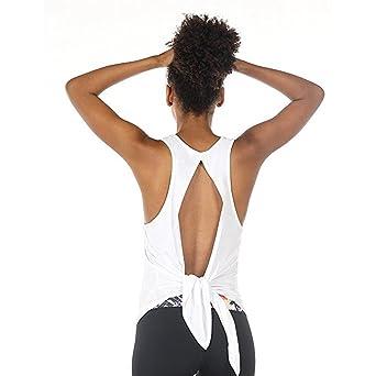 Moda Mujeres Sexy Yoga Deporte Respaldo Top sin Mangas, Dama Sexy Racerback Blusa Tiras ChalecoTops Elegante O-Cuello Túnica Camisa para Verano Ropa Tanque ...