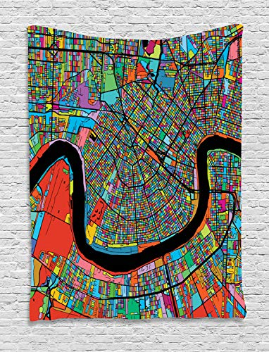 Ambesonne New Orleans Tapestry, Colorful Map of City with Mississippi River Districts and Highways New Orleans, Wall Hanging for Bedroom Living Room Dorm, 60