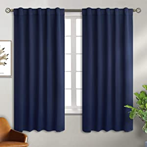 BGment Rod Pocket and Back Tab Navy Blackout Curtains for Bedroom - Thermal Insulated Room Darkening Curtains for Living Room, 2 Window Curtain Panels (42 x 63 Inch, Navy Blue)