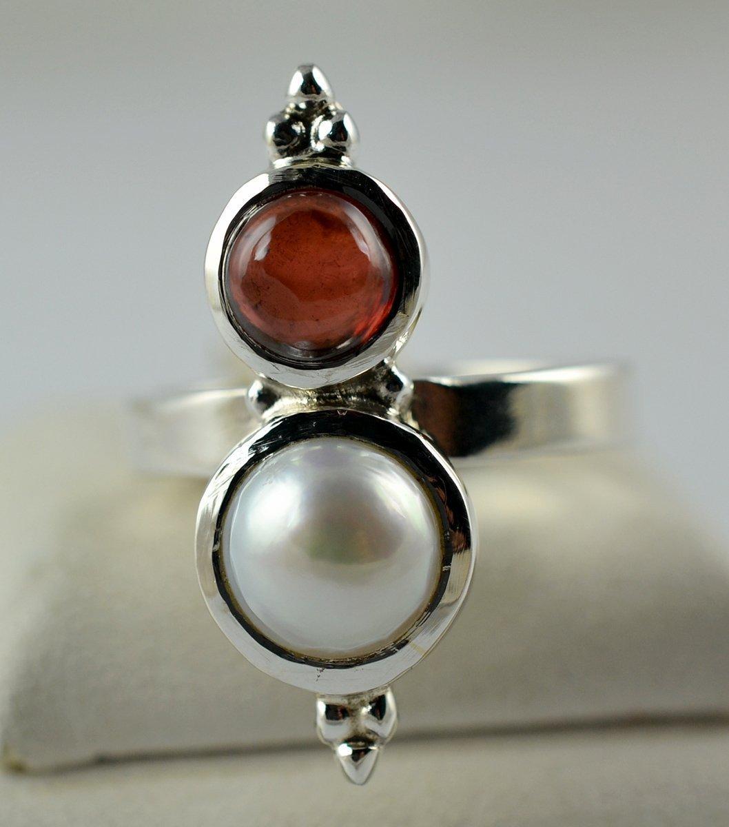 Perla de agua dulce, anillo de granate 925 joyas de plata hechas a mano, tamaño 4 a 29 ES