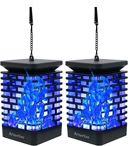 Arzerlize Solar Lanterns Outdoor, Hanging Solar Lights Flickering Dancing Flame, LED Deck Light Garden Decoration Easter Yard Art Patio Landscape Outside Ornaments Waterproof, Blue 2 P