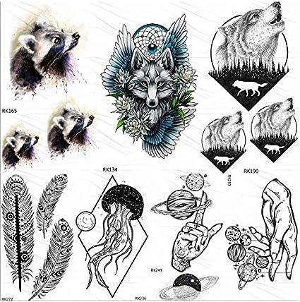 ruofengpuzi Adesivo tatuaggioTribal Mapache Lobo Etiqueta del ...