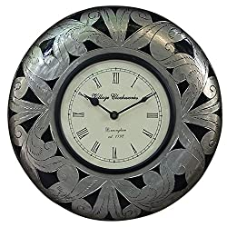 Round Wooden Decorative Wall Clock Ornate Floral Silver with Roman Numeral Clock Face 12 Inch Vintage
