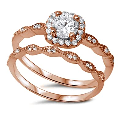 Charmant Vintage Halo 2 Piece Wedding Ring Round Cubic Zirconia Rose Tone Plated 925  Sterling Silver