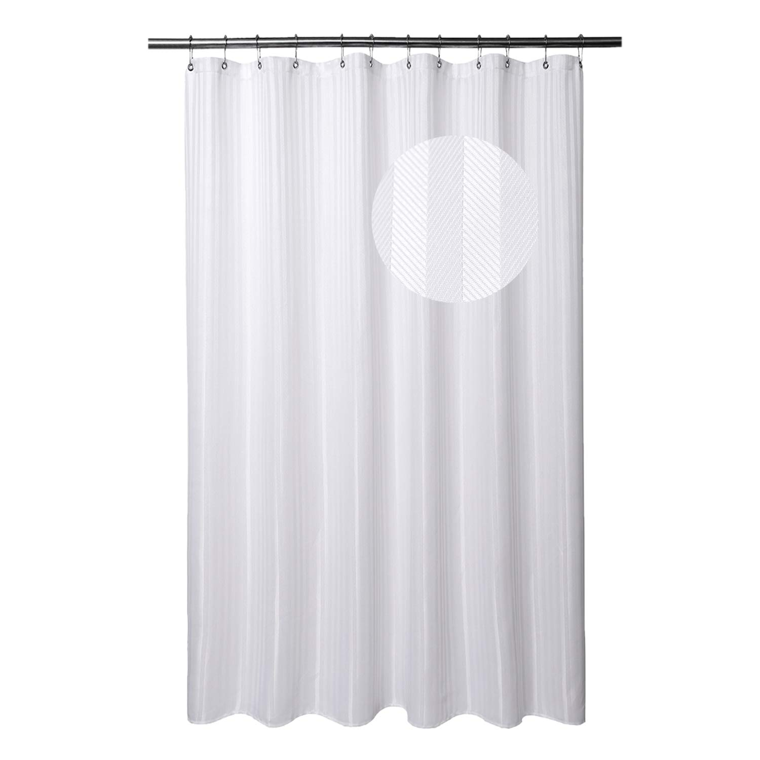 Barossa Design Long Shower Curtain Fabric with 78 inches Longer Size - Hotel Grade, Machine Washable,Water-Repellant and Midew Resistant - White Stripe Damask (160 GSM Heavyweight), 71''x78''