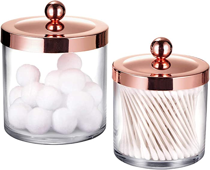 Premium Quality Plastic Apothecary Jars - Qtip Holder Bathroom Vanity Countertop Storage Organizer Canister Clear Acrylic for Cotton Swabs,Rounds, Balls,Makeup Sponges,Bath Salts / 2 Pack (Rose Gold)