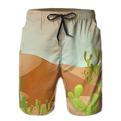 61cec6175d Large beach pants Cactus in The Desert Drawing Mens Slim Fit Quick Dry  Short Swim Trunks with Mesh Lining   Amazon.com