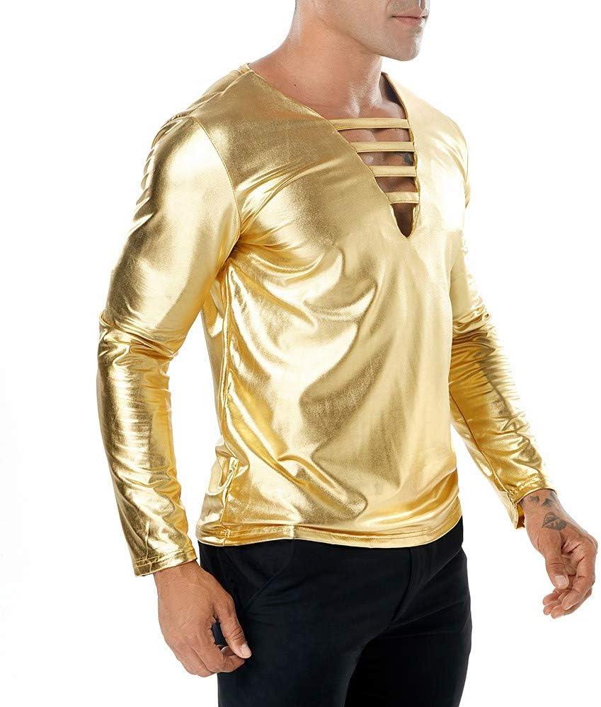 Camisetas Hombre Manga Larga Camisa Fiesta Camisetas Danza Latino para Hombres Camisas Brillantes Baile de Salón Disfraz Estilo 80´S Partido Club Nocturno Sexy Tops Casual Blusa Slim Fit(B, S): Amazon.es: Ropa y