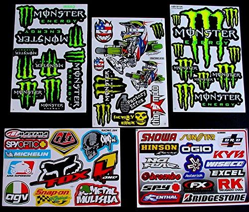 6 Sheets  Motocross stickers  BKK boys Rockstar bmx bike Scooter Moped army Decal Stickers