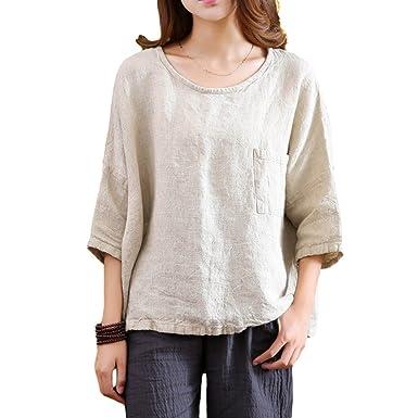 fab5284914b Helisopus Women s Casual Loose 3 4 Sleeve O-Neck Cotton Linen Shirt Blouse  Tops