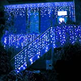 BlueOceans 2016 LED 5M Eisregen/Eiszapfen Lichterkette Weihnachtsdeko Weihnachtsbeleuchtung Deko Fairy Christmas INNEN und AUSSEN (blau - 5M)