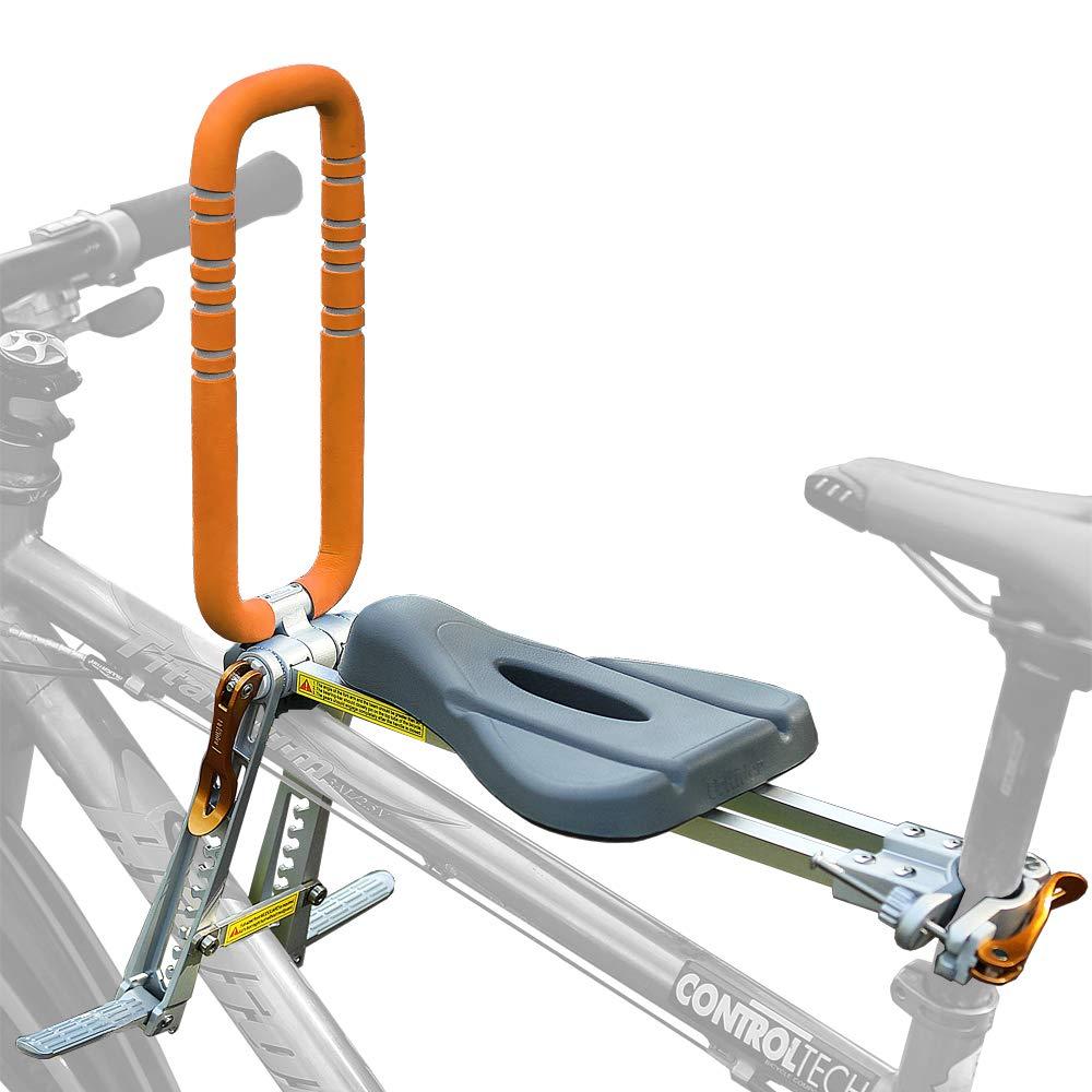 UrRider Front Mount Bike Child Seat, Portable, Foldable & Ultralight Kids' Carrier Seat with Handrail for Mountain Bikes, Hybrid Bikes, Fitness Bikes