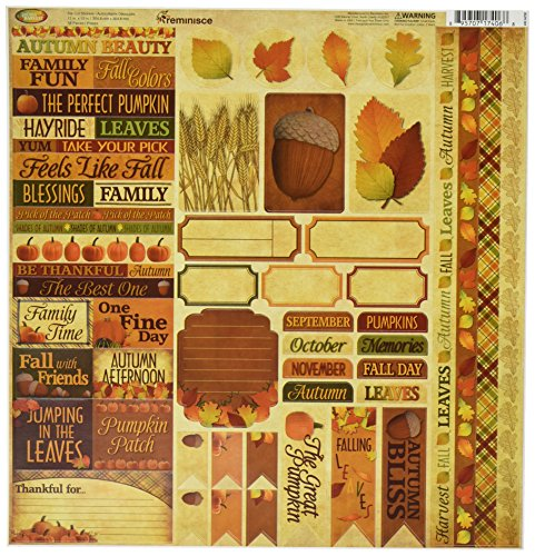 Variety Fall Harvest - Reminisce Autumn Harvest Scrapbook 12 by 12-Inch Variety Sticker