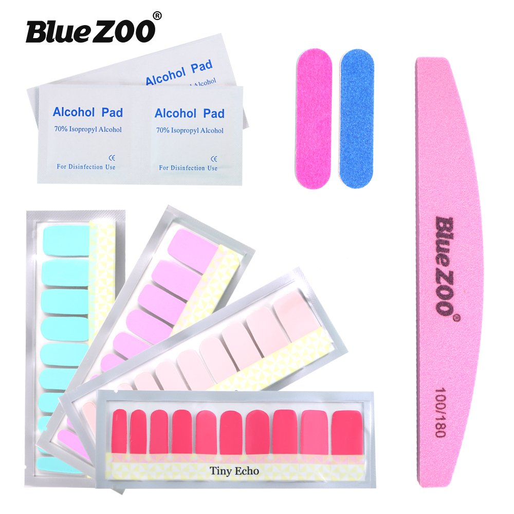 BlueZOO Nail Beauty Kit - 4PCS Different Pure Color Series Nail Polish Stickers Manicure DIY Nail Polish Strips Wraps for Wedding, Party, Shopping, Travelling with 3PCS Nail File & 4PCS Alcohol Pad (1#)