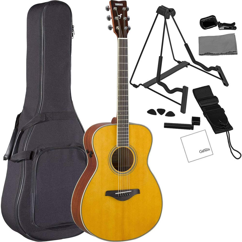 Yamaha FS-TA VT TransAcoustic Concert Acoustic-Electric Guitar Vintage Tint Bundled with Gig Bag, Stand, Tuner, Strap, Guitar Picks, String Winder and ...