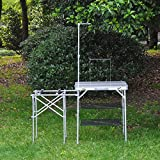Globe House Products GHP Silver MDF Board Aluminum Alloy Folding Picnic Table with Hanging Rack & Shelves