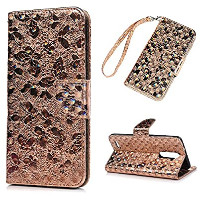 ZTE ZMAX Pro Case, ZTE Carry Z981 Case,YOKIRIN Luxury Shiny Bling 3D Relief Holographic Butterfly PU Leather Flip Wallet Cover with Wrist Strap Kickstand Card Holders Cash Slots Protective Bumper Skin by YOKIRIN