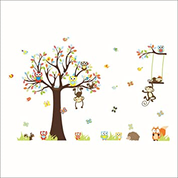 Rainbow Fox Cartoon Forest Animal Monkey Wall Stickers Murals Owls Swing On Tree Nursery Wall Stickers Diy Posters Vinyl Removable Art Wall Decals For