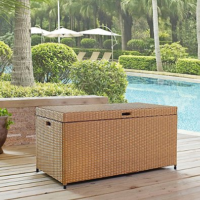 Crosley Palm Harbor Outdoor Wicker Storage Bin, Light Brown by Crosley