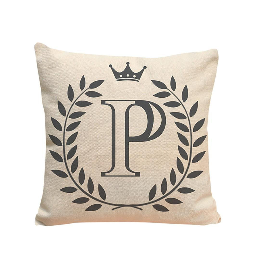 Koolee Letters Pattern Throw Pillow Case Simple Cushion Cover Sofa Home Decor Square Cushion Case (P)