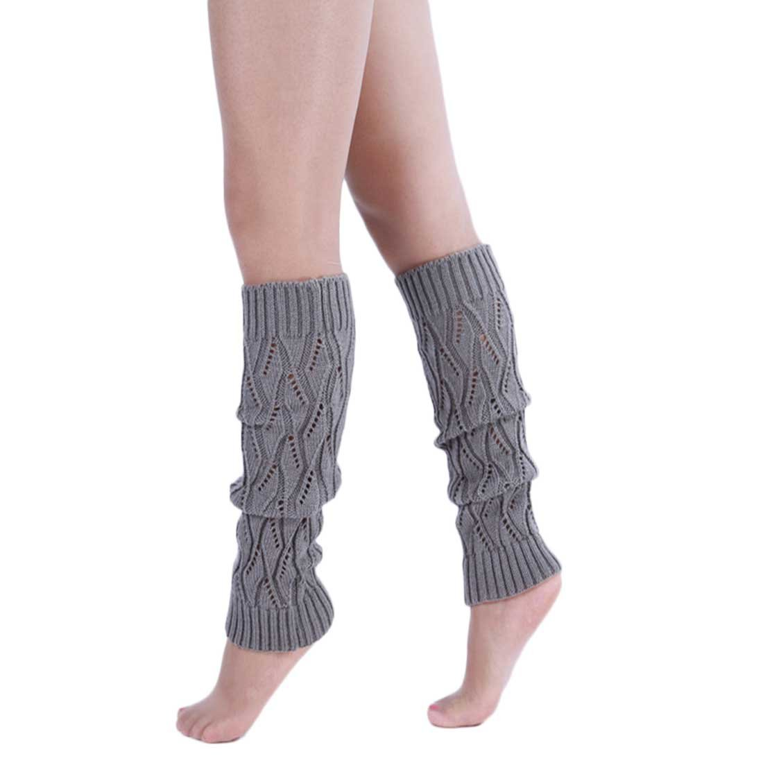 VoberryWomen Knitting Wool High Kneen Socks Leg Warmers Leisure Boot Socks (D)