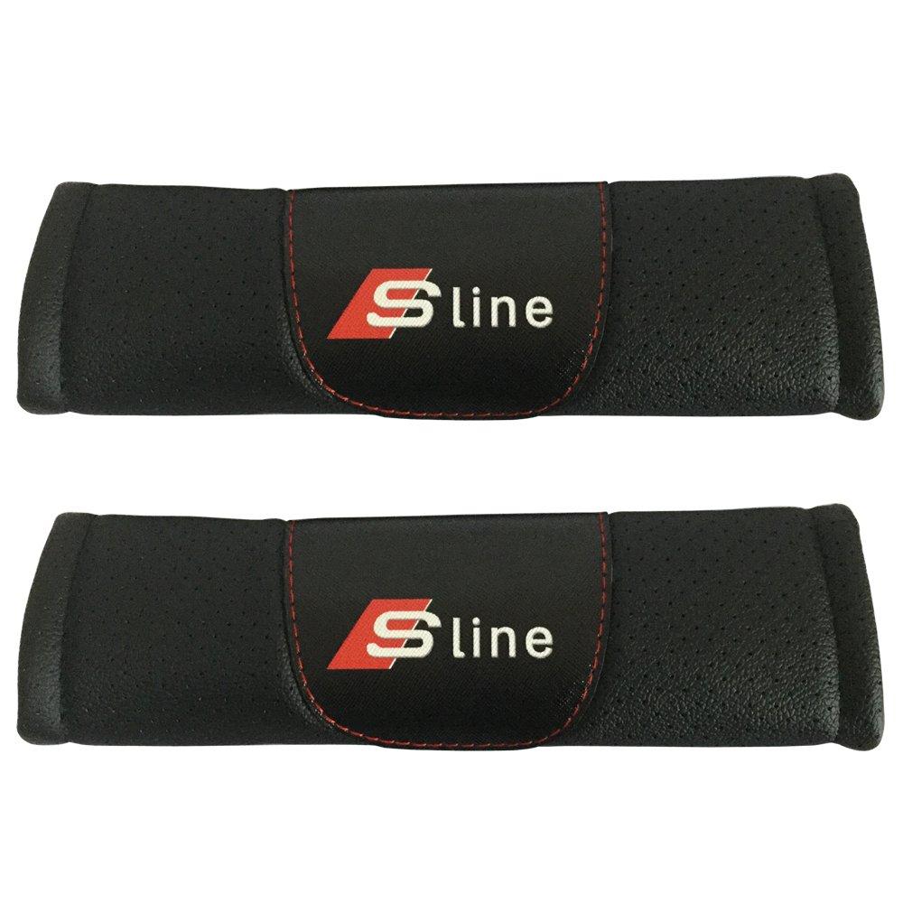 Jimat 2pcs Sline Logo Black Leather Car Seat Safety Belt Strap Covers Shoulder Pad Accessories Fit For Audi R8 RS3 RS5 RS7 S3 S4 S5 S6 S7 S8 SQ5 TT
