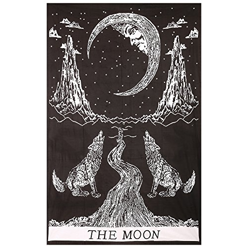 Gokul Handloom Crying Wolf of The Moon Tapestry Wall Hanging Bohemian Bed Sheet Ethnic Wall Art Indian Designer Tapestries